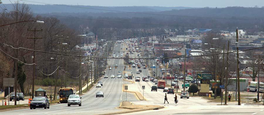 View of Hybla Valley down Richmond Highway