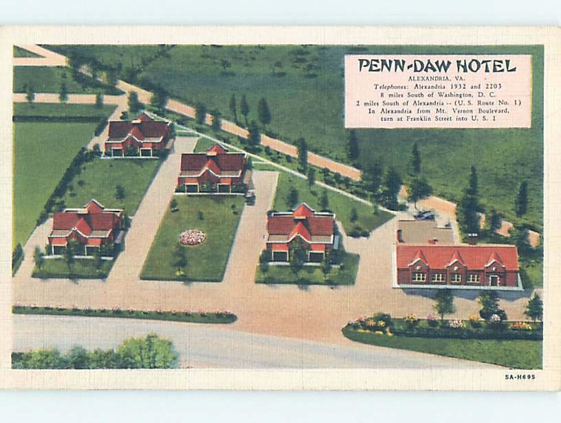 Penn Daw Motel postcard showing color drawing of the complex from above