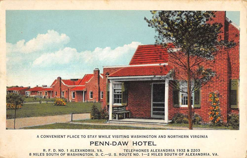 """Postcard with a painting of the Penn Daw Motor Hotel. It reads """"A convenient place to stay while vising Washington and Northern Virginia"""""""