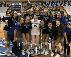 West Potomac team posing for picture together after home win in region tournament