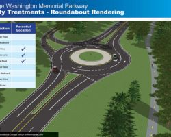 Artist's depiction of roundabout on GW Parkway