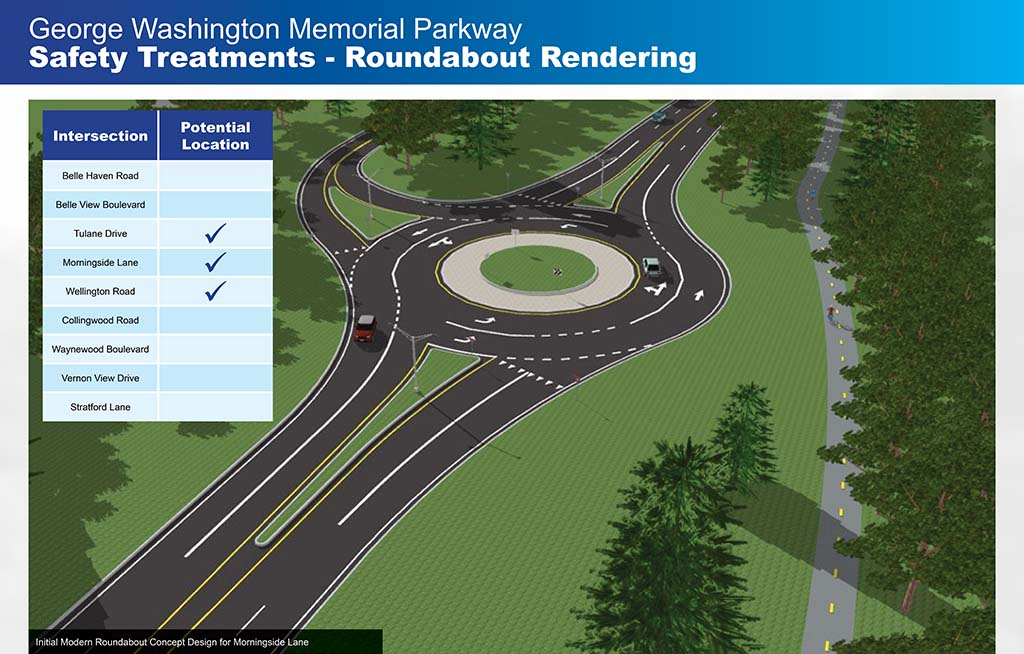 """Slide from meeting that reads """"Safety Treatments - Roundabout Rendering"""" and it shows which intersections the roundabout could be considered for"""