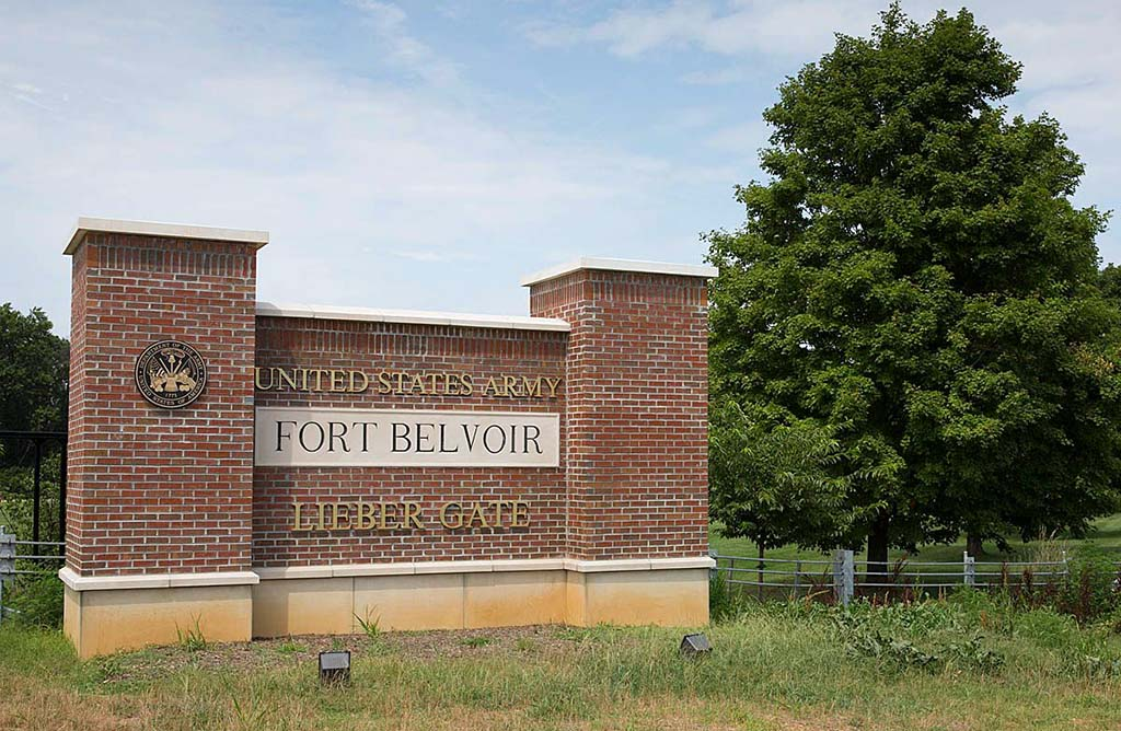 Brick marquee at Fort Belvoir for Lieber Gate. Photo taken in summer time.