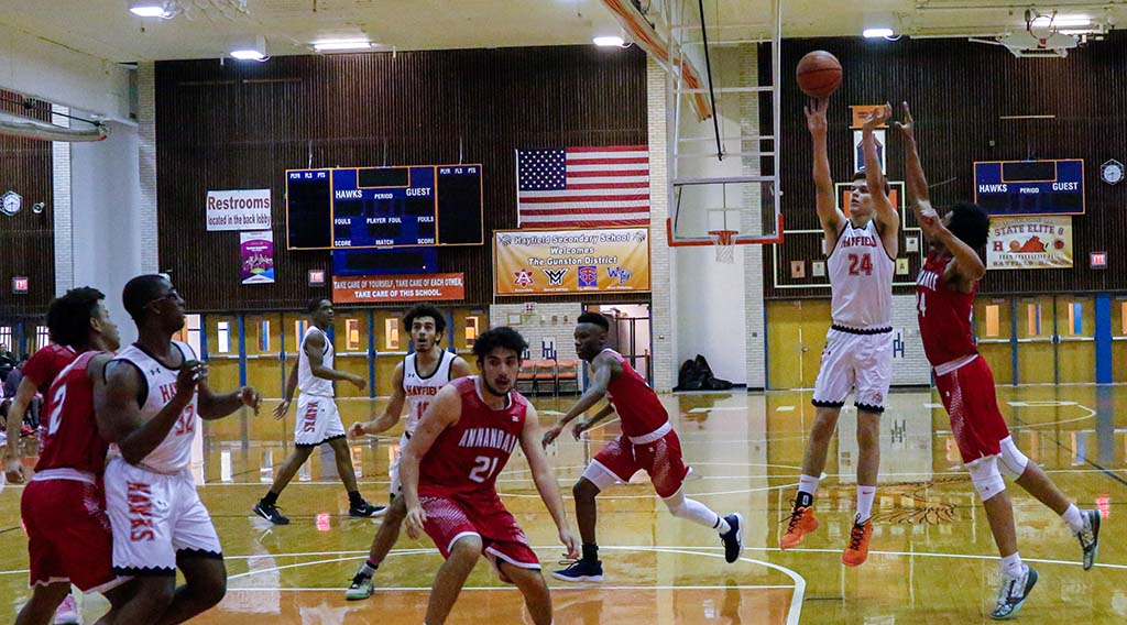 Peterson shooting a jumper against Annandale