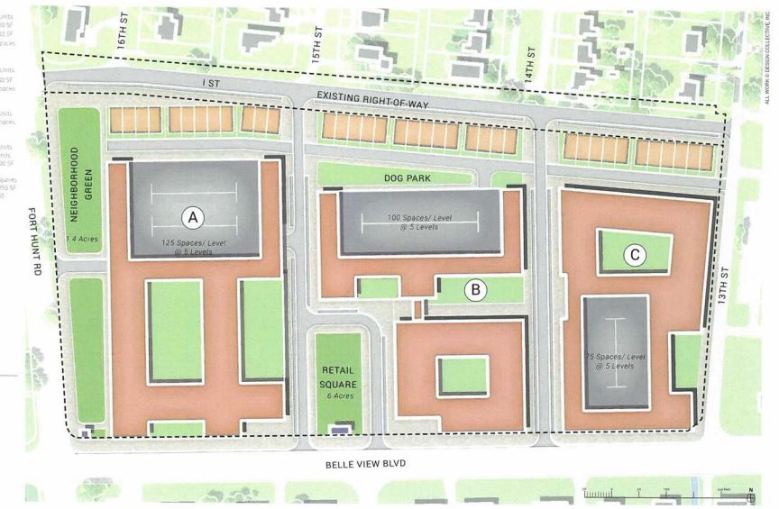 An overhead view of one of the approvals for the Belle View Shopping Center property