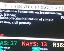 Vote board showing 27 Yeas and 13 Nays